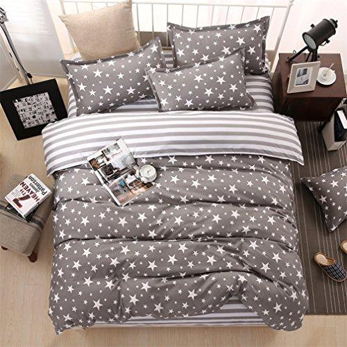 Galaxy Space Star Print Bettbezug und Kopfkissen Set Twin Full Queen oder King Wende schwarz und weiß Moderne Bettwäsche, baumwolle, grau, Queen