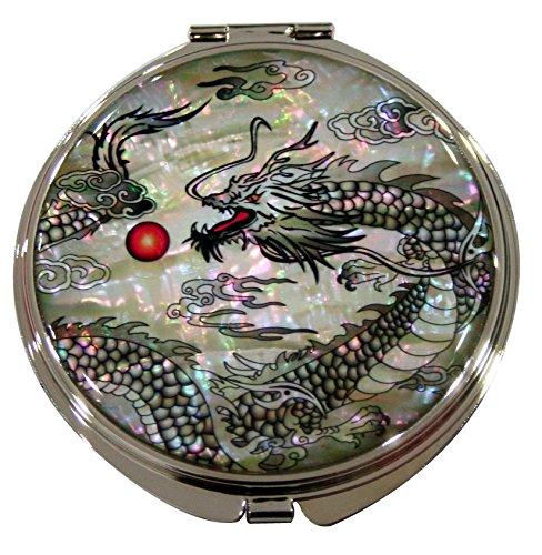 Mère de perle motif dragon noir double miroir de poche compact Sac à main Loupe de maquillage beauté