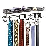 mDesign Wandgarderobe mit Ablage - praktischer Wandorganizer für Schlüssel, Brillen, Handys, Münzen etc. – auch als Krawattenhalter, Gürtelhalter & Schmuckhalter - Farbe: Bronze