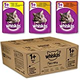 Whiskas Wet Cat Food Pouch for 1+ Adult, Mixed Selection in Gravy - Pack of 84