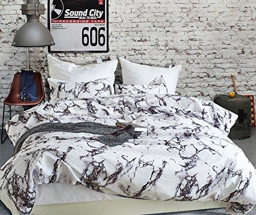Marmor Bettwäsche 200x200 Set Doppelbett Marmoriert Weiße Muster Bettwäsche Set 1 Bettbezug mit 2 Kissenbezüge 80×80 cm aus Microfaser