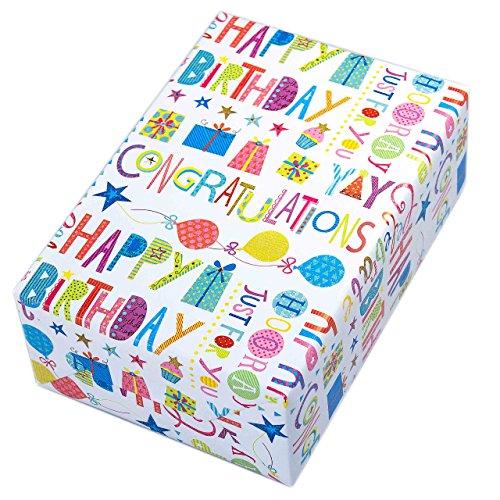 Geschenkpapier Geburtstag, 3 Rollen, Motiv Happy Birthday, buntes Schrift-Geschenkpapier mit Glitzer und Ballons. Der multifarbige Glitter sorgt für den zusätzlichen Wow-Effekt. Toll auch für Kinder. (Geschenkpapier Geburtstag)