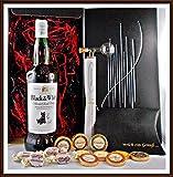 Geschenk Black & White Whisky mit Flaschenportionierer + 10 Edel Schokoladen von DreiMeister & DaJa + 4 Whisky Fudge kostenloser Versand