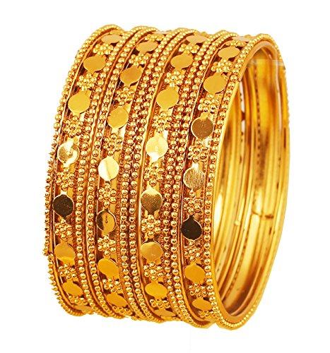 NEU. Touchstone indischen Bollywood Floral Arbeit und Schlagmetall Designer Jewelry B Winkel Armbänder. Set 4Stück. In Antik Gold Ton für Frauen. (Schmuck Antik)