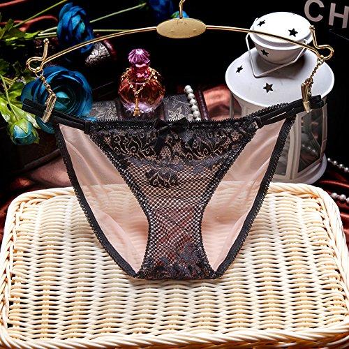 RRRRZ*Sexy und bequem 3 flaches Ecke Hose, transparente Unterwäsche luxuriösen minimalistischen Western Wind ,L, schwarz