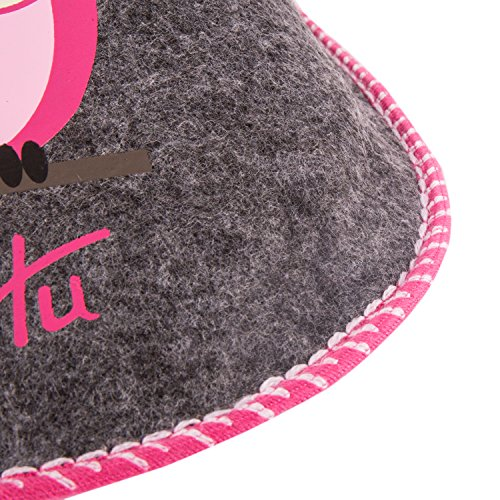 sinnlein® Gäste-Pantoffeln Gäste-Hausschuhe Filz-Pantoffeln Unisex Damen Herren Kinder Jungen Mädchen, Größen 34, 37, 40, 42, 44 warm, drei modische Farben, mit Eulen-Motiv HuHu Pink-Huhu