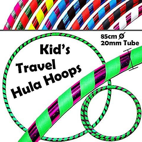 HULA HOOPS pour les ENFANTS - ULTRA-GRIP Pro KIDS TRAVEL Hula Hoops - De Pondérées Enfants Voyage Pliable Hula Hoop. Super Pour L'exercice, Danse, Fitness & Fun! (Diam:85cm, Lesté:400g) (Flo.Vert/ Violet, 85cm)