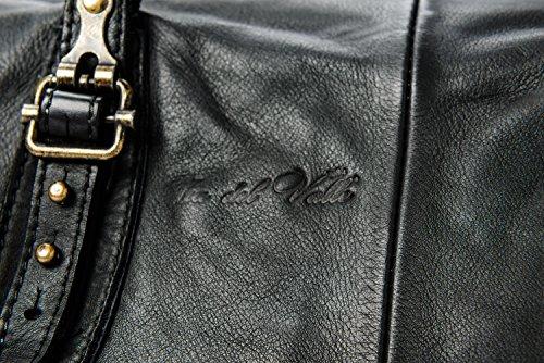 Ira del Valle, Borsa Donna, In Vera Pelle, Vintage, Modello Cordoba, Made in Italy Nero