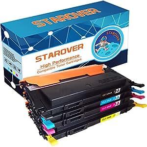 STAROVER 4x CLT-P404C / CLT-404S (CLT-K404S CLT-C404S CLT-M404S CLT-Y404S) Cartucho de tóner Compatible para Samsung Xpress SL-C480 SL-C480FW SL-C480W SL-C480FN SL-C430 SL-C430W SL-C482 SL-C482W SL-C482FW SL-C432 SL-C432W SL-C433 SL-C433W SL-C483FW SL-C483W (1 Negro, 1 Cian, 1 Magenta, 1 Amarillo)
