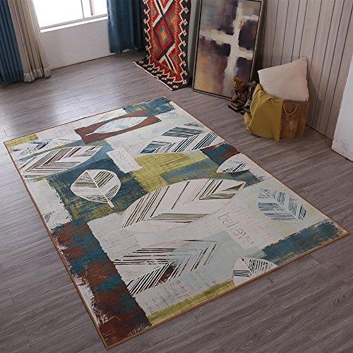 Teppich Teppich Land Stil Blatt Muster Kunst modernen minimalistischen Rechteck Wohnzimmer Schlafzimmer Matten (Size : 160 * 230CM) -
