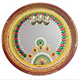 Pooja Thali For Home Decor Diwali Celebrations Hand Made Pearl Crafted Designer Pooja Thali Made On Mirror 12 Inch Thali   Made Of Stainless Steel