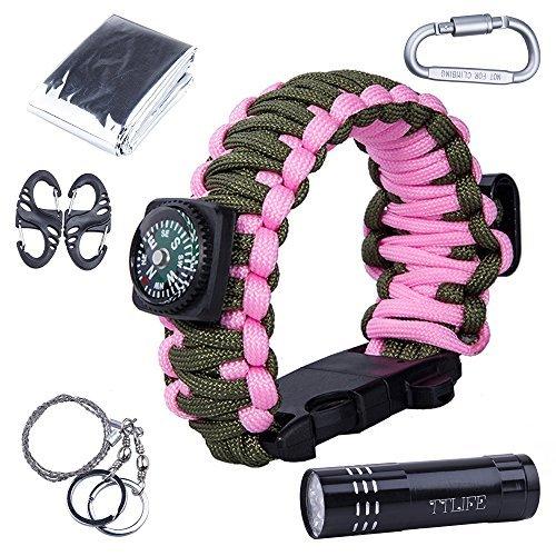 TTLIFE Survival Kit (Paracord Armband mit Kompass, Flaschenöffner, Whistle, Feuer-Starter und LED-Taschenlampe, Notfall-Decke, Karabiner, Karten-Messer, Draht-Säge) (Rosa + (Kit Kinder Armee)