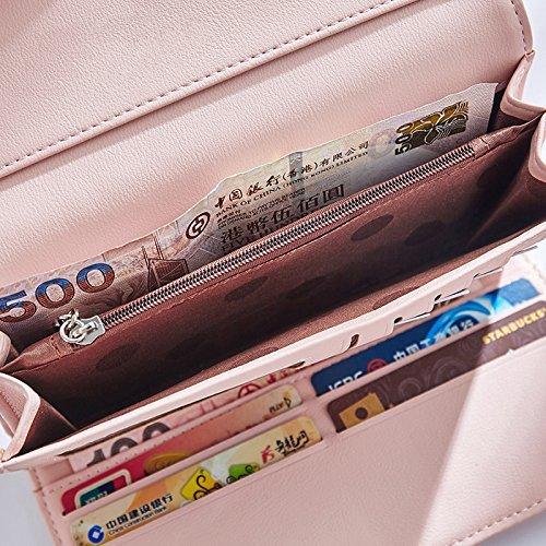 Elegent Donne Borsa IHRKleid® In pelle Sacchetto dei soldi Sweet Portafoglio (Oro) Rosa