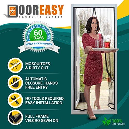 """Dooreasy Magnetische Bildschirmtür, schwere Magnete, Top-to-Bottom-Dichtung Insektenschutzvorhang, Moskitos und beißende Bugs stehen keine Chance (Passt Türen bis zu 37 """"x82"""")"""