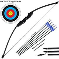 Camouflage, 30LBS Tongtu 57 Takedown Recurve Bow and Arrow Set with 12pcs Aluminum Arrows Right Hand 30 35 40 45 50 55 60LBS for Target Practice Shooting Games