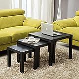 UEnjoy Nest of 3 Side Gloss Coffee Table Modern Design Living Room(Black )