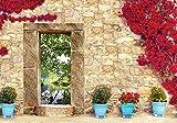 Olimpia Design Fototapete Steinmauer in Blumen, 1 Stück, 10503VEXXL
