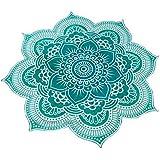 Flor Mandala toalla, mantel, plaid, tapiz, playa, cubre sofas, mantel picnic, original , colorida y exotica de 1.50 cm color turquesa