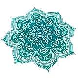Blume Mandala, Handtuch, Plaid Tischdecke, Picknick, Strand, deckt Sofas Tapisserie Tischdecke, Original, farbenfrohe und Exotica 1.50cm türkis