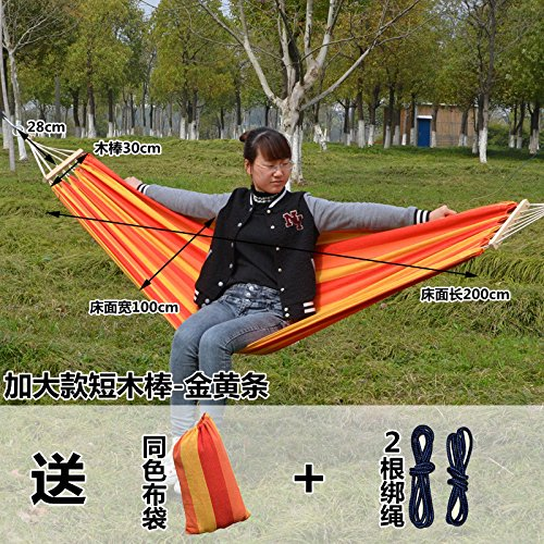 SUHANG Hängematte Outdoor Camping Tragbare Hängematte Swing Kurze Stick Hängematten Qualität Hängematten, Erhöhung Der Kurzen Stick - Golden Brown (Garnbindung) (Camo Tie Blau)