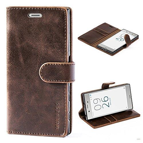 Mulbess Handyhülle für Sony Xperia XZ Hülle, Leder Flip Case Schutzhülle für Sony XZ/XZs Tasche, Vintage Braun