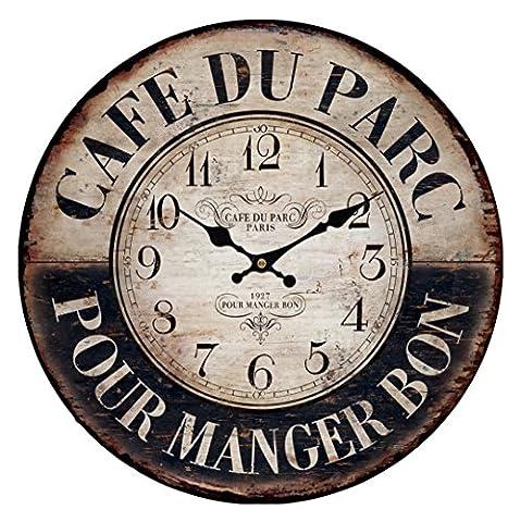 Uptop Vintage Paris Country Style Cafe Park Grande Taille Horloge Murale En Bois Décor Intérieur De Café 35CM