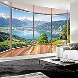 Weaeo Benutzerdefinierte Fototapete 3D Balkon Waldsee Raum Wand Wandbild Moderne Wohnzimmer Hintergrund Wandmalerei Wohnkultur Tapeten-350X250Cm