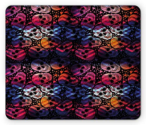 WYICPLO Halloween Mouse Pad, Mexican Sugar Skulls Stylized Digital Polygonal Geometric All Saint Day Display, Standard Size Rectangle Non-Slip Rubber Mousepad, Multicolor