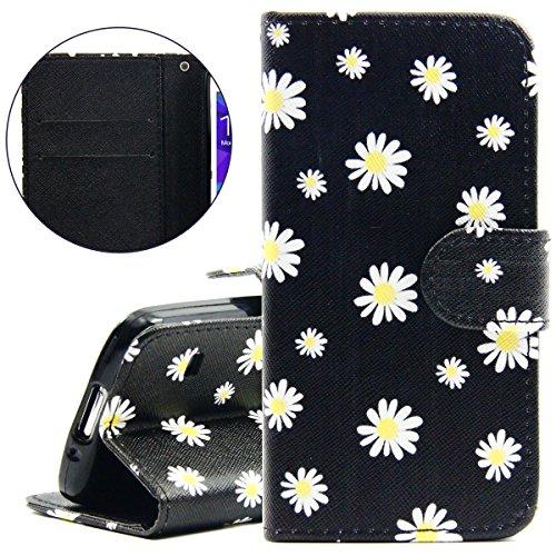 Cover iPhone 5S, ISAKEN Cover iPhone SE/5 - Elegante borsa Custodia in Pelle Protettiva Flip Portafoglio Case Cover per Apple iPhone 5 5S SE / con Supporto di Stand / Carte Slot / Chiusura Magnetica - fiori gialla