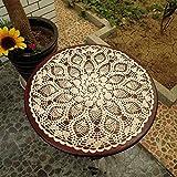 Ustide rústico Floral Mano Ganchillo Doilies–Juego de manteles manteles de encaje beige mantel redondo Set de 2, algodón, Blanco, diameter 23 inch(60cm)