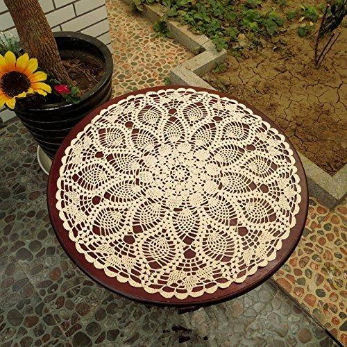 ustide Rustikales Florales Tischset Hand-gehäkeltes Deckchen Spitzen-Tischset beiges Tischset rund 2er-Set, baumwolle, beige, diameter 19 inch(50cm) -