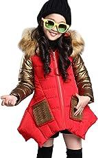 LSERVER Kinder Baumwollkleidung Mädchen Langen Wintermantel Dicken Jacke