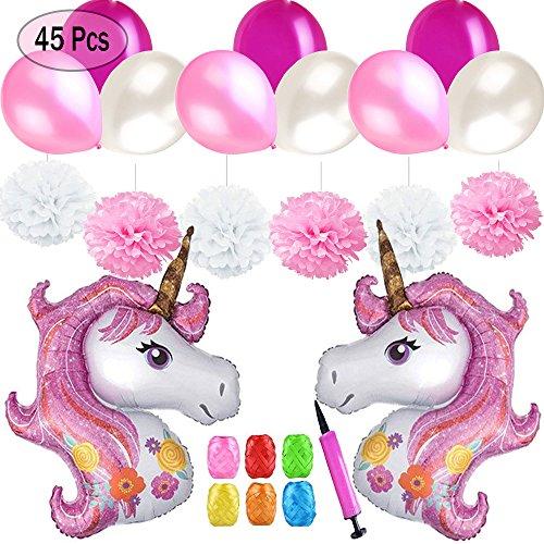 Mattelsen Fournitures de Décoration de Fête Licorne, 2 Licorne Ballons Grand Aluminium, 30 Ballons Latex, 6 Paquets Pompon Papier, 6 Ruban Ballon, 1 Mini Pompe pour Décoration Anniversaire Mariage