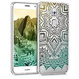 kwmobile Hülle für Huawei Nova Plus - TPU Silikon Backcover Case Handy Schutzhülle - Cover klar Sonne Aztec Design Gelb Türkis Transparent