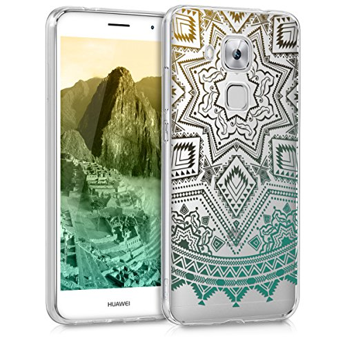 kwmobile Huawei Nova Plus Hülle - Handyhülle für Huawei Nova Plus - Handy Case in Gelb Türkis Transparent
