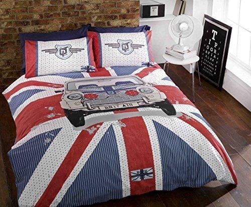 Mini GT Union Jack Rot / Weiß / Blau Gestreift, Grau Bettdecke Bettwäsche Set für Einzelbetten Hallways ®