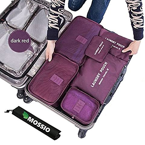 Packing Organisers,Mossio 7 Set Packing Cubes with Shoe Bag - Compression Carry On Travel Luggage Organiser (Wine Red)