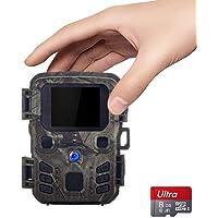 SUNTEKCAM Mini Wildkamera 12MP 1080P wasserdicht nach IP65 850nm Sichtbares Licht Nachtsicht-Kamera zur Beobachtung von Wildtieren und Heimüberwachung mit 8 GB SD-Karte für die von Wildtieren