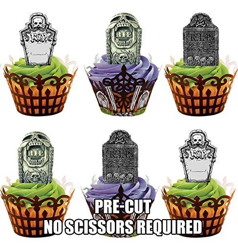 oween Grabsteine – Essbare Cupcake Topper / Kuchendekorationen (24 Stück) (Halloween-lebensmittel Streich Ideen)