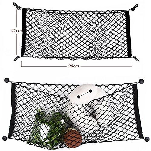 90*40cm Filet Rangement Coffre Voiture avec Crochets + 4 Pièces de Fixation + 4 Clous Grande Capacité Sac de Filet Elastique Solide Organisateur Siège Arrière Accessoire Voiture Universel