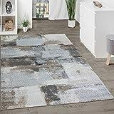 Paco Home Designer Teppich Wohnzimmer Webteppich Kariert Webteppich In Grau Creme, Grösse:200x290 cm