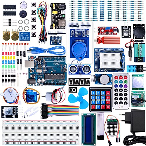 VANYE Conjunto de Iniciación Arduino UNO Avanzado Kit de Arduino UNO R3 Proyecto el kit de Inicio Ultimate más Completo con TUTORIAL, Módulos Placas Controladora UNO R3, Pantalla LCD1602