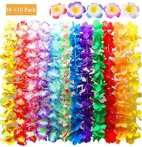 KINXOR-36-cuentas-hawaianas-leis-collar-tropical-Luau-fiesta-y-10-piezas-Hawaiian-Plumeria-flor-pelo-clip-fiesta-regalos-coronas-diademas-vacaciones-boda-playa-cumpleaos-decoraciones
