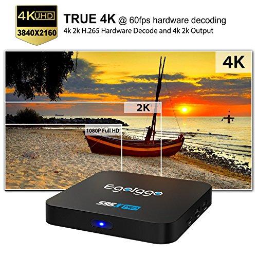 [2GB/16GB] EgoIggo S95X Pro Android TV Box Android 6.0 2GB RAM+16GB ROM 2.4G WIFI 4K 2K H.265 Hardware Decode Smart TV Box Black