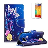 For Samsung Galaxy S6 Edge Case Cover, Funyye Practical Fashionable New 3D Patterns PU Folio Leather Wallet Designer Flip Magnetic [Card Holder Slot] Shock Absorber Full Body Protection Holster Case Cover Skin Shell for Samsung Galaxy S6 Edge-Butterflies Flower