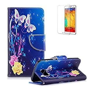 For Samsung Galaxy S6 Edge Cover, Funyye Practical Fashionable New 3D Patterns PU Folio Leather Wallet Designer Flip Magnetic [Card Holder Slot] Shock Absorber Full Body Protection Holster Cover Skin Shell for Samsung Galaxy S6 Edge-Butterflies Flower