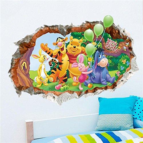 WSJIABIN Tiere Zoo Cartoon Winnie Pooh Home Schlafzimmer Aufkleber Wandaufkleber für Kinderzimmer Wandtattoos Kindergarten Party Supply Geschenke ()