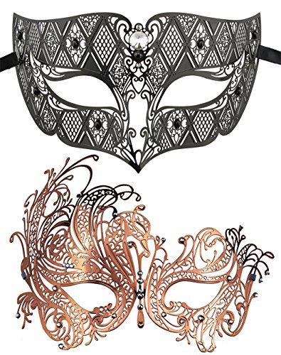 Coddsmz 2 Pack Set Masken Maskerade Ball Halloween Kostüme für Männer und Frauen (Schwarz + Rosenrot) (Zwei Männer Kostüm)