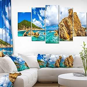 Designart Costa Paradiso Close View Seashore Photo Canvas Art Print 60x32 5 Piece 60x32 5 Panels Diamond Shape Blue Amazon In Home Kitchen