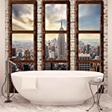 New York City Skyline Fenster Ausblick - Forwall - Fototapete - Tapete - Fotomural - Mural Wandbild - (2832WM) - XL - 208cm x 146cm - VLIES (EasyInstall) - 2 Pieces